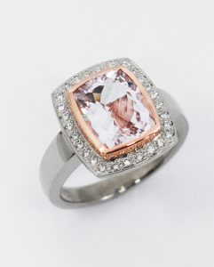 White Gold Morganite & Diamond Ring
